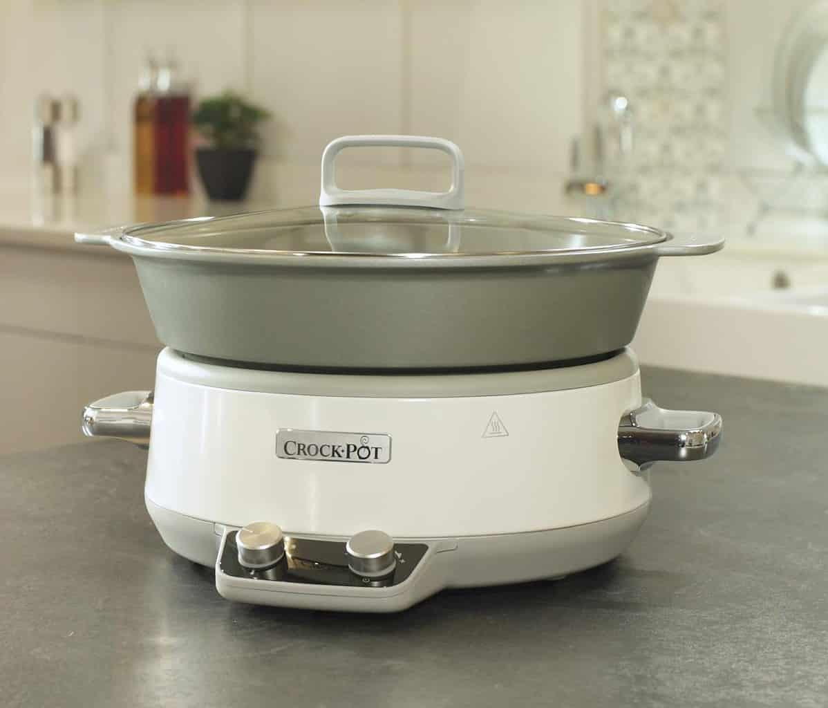 Crock-Pot Duraceramic CSC027X - Olla de cocción lenta digital, 6 L, color blanco