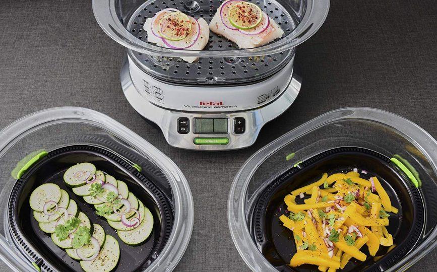 Tefal Vitacuisine Compact VS400333 - Vaporera compacta 1800 W, con 3 pisos para cocción simultánea, 2 cestos, capacidad de 9 L, libro de cocina incluido
