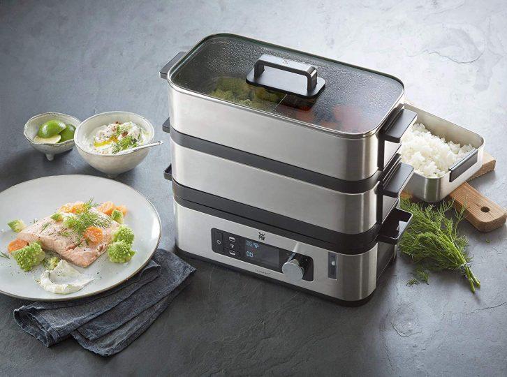 WMF Kitchenminis Vaporera 900 W de hasta 4.3 L y depósito de Agua de 1.1 L, Dos Zonas de cocción y función de Mantenimiento de la Calor, Acabados de Acero Inoxidable de cromargan