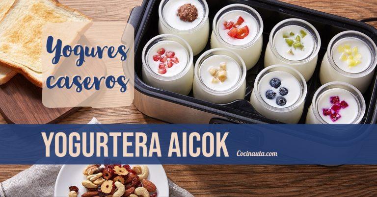 Yogurtera Aicok Yoghurt Hecho en Casa 8 Jarros de Vidrio 1440ml Pantalla LED con Ajuste de Temperatura y Temporizador Auto Apagado, Acero Inoxidable, 30W [Clase de eficiencia energética A+++]