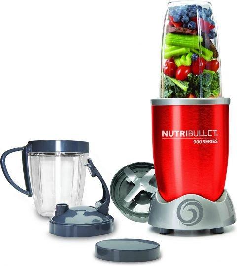 NutriBullet NB90928R Extractor de nutrientes original con recetario en español, ciclónico, apto lavavajillas, 900 W, alta velocidad 25.000 rpm, color roj