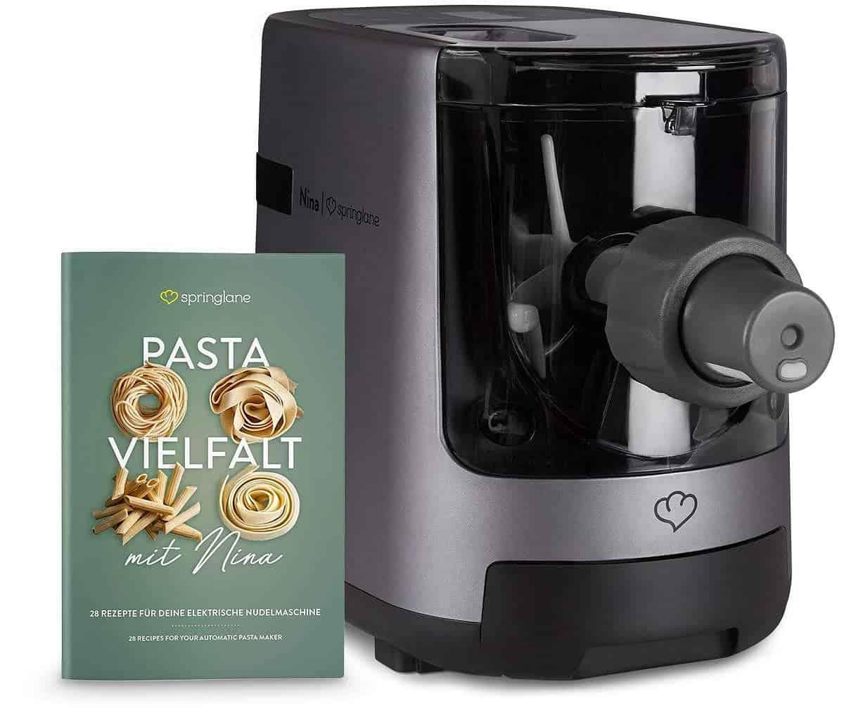 Nina de Springlane Kitchen. Máquina eléctrica para hacer pasta y fideos. Elaboración automática de pasta fresca y espagueti casero - 7 accesorios, 4,5 kg, con espátula, cepillo de limpieza, y libro de recetas