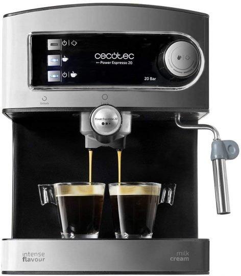 Cecotec Cafetera Express Manual Power Espresso 20. 850W, Presión 20 Bares, Depósito de 1,5L, Brazo Doble Salida, Vaporizador, Superficie Calientatazas, Acabados en Acero Inoxidable [Clase de eficiencia energética A]