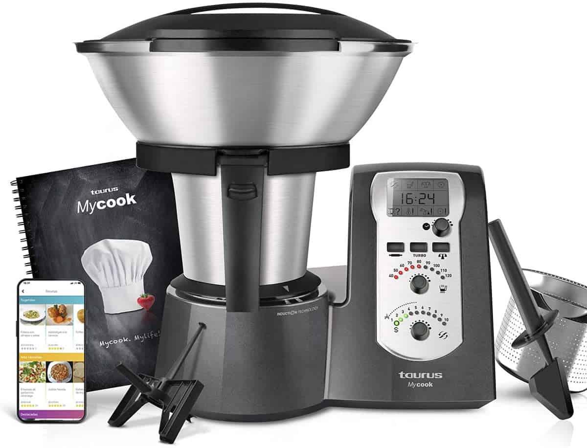 Taurus Mycook Legend - Robot de Cocina por Inducción de 40 a 120º C, app mycook con miles de recetas gratuitas, incluye un recetario impreso con 250 recetas, 1600 W, vaporera, balanza integrada