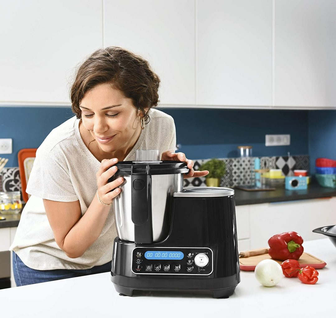 Moulinex ClickChef HF4SPR30 - Robot de cocina multifunción 3.6 l (Recetario en Castellano, 5 programas Auto, temperatura de 30 a 120 ºC, 12 velocidades, 1400 W, 32 funciones, báscula, vaporera) Negro